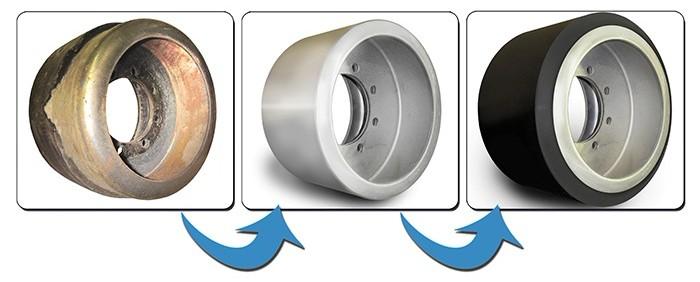процесс восстановления колес полиуретаном
